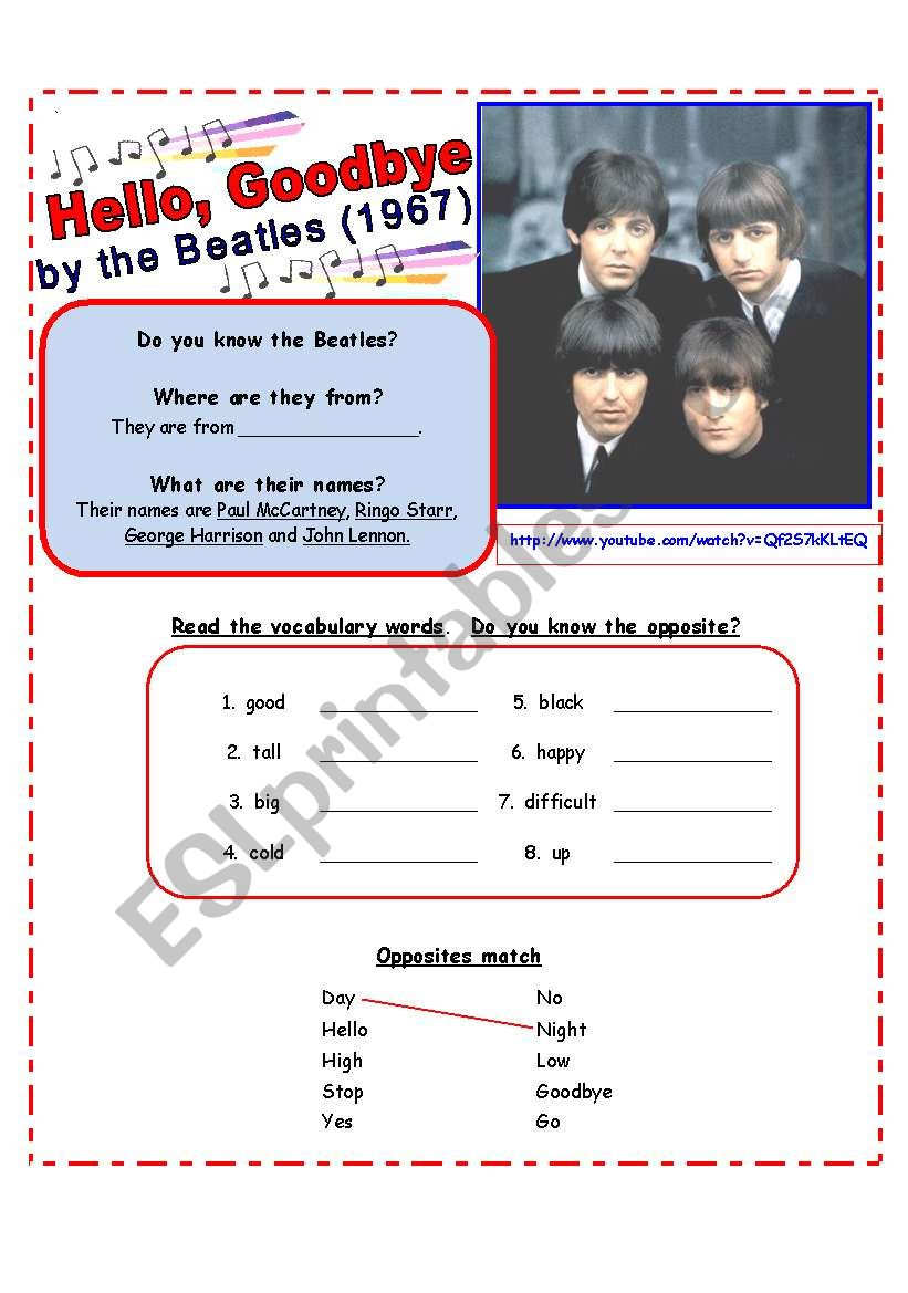 SONG for Beginners:  Practice Opposites: Hello, Goodbye by the Beatles [3 pages w/ exercises & lyrics]
